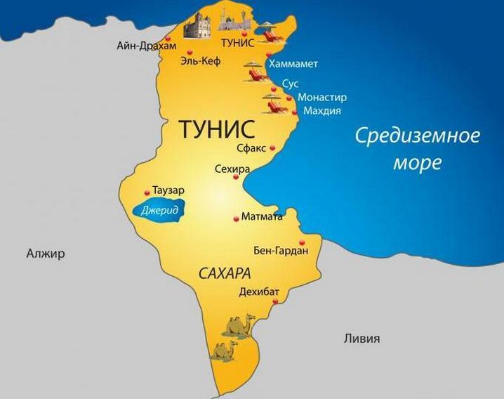 Основные курорты Туниса