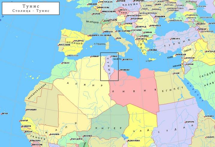 Тунис на мировой карте