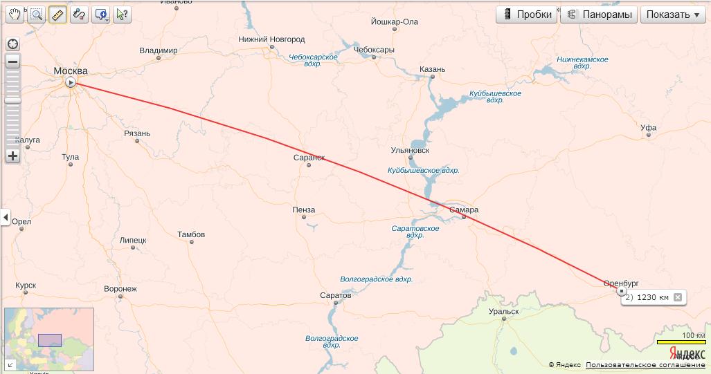 Карта от волгограда до оренбурга на машине