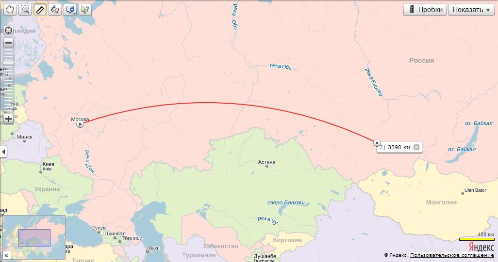 Расстояние от абакана до москвы