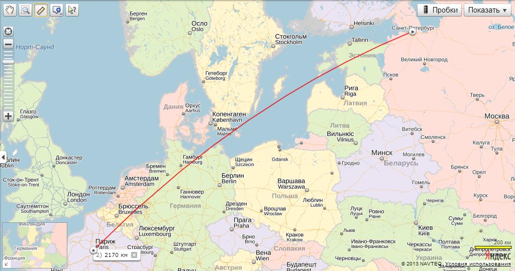 Расстояние от санкт петербурга до
