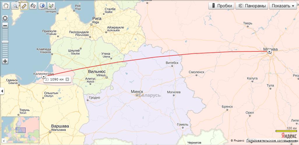 Маршрут Москва Калининград на карте автомобильных дорог
