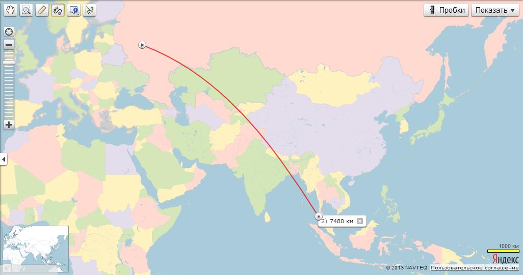 Маршрут перелета от Москвы до
